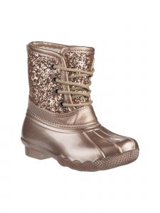 Josmo Girls Rose Gold Glitter Lace Up Round Toe Duck Boots 11-4 Kids