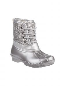 Josmo Girls Silver Glitter Lace Up Round Toe Duck Boots 5-10 Toddler