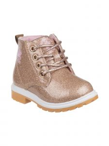 Beverly Hills Girls Gold Glitter Lace Up Casual Boots 12-6 Kids