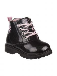 Beverly Hills Girls Black Glitter Lace Up Casual Boots 12-6 Kids