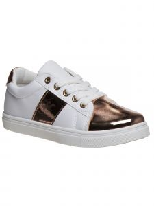 Beverly Hills Girls White Rose Gold Holographic Lace Up Sneakers 11-4 Kids