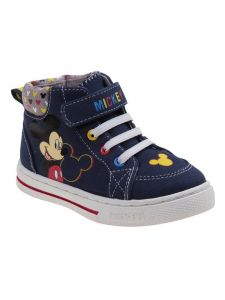 Character Boys Navy Mickey Mouse Lace Up Closure Sneakers 7-10 Toddler