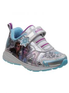 Character Girls Silver Elsa And Ana Hook And Loop Sneakers 7 Toddler-12 Kids