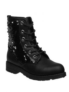 Kensie Girl Girls Black Sequin Lace Up Closure Boots 11-4 Kids