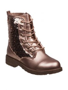 Kensie Girl Girls Multi Color Sequin Lace Up Closure Boots 11-4 Kids