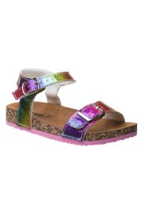 Kensie Girl Holographic Multi Color Double Buckle Sandals 5-10 Toddler