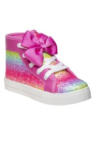 Kensie Girl Fuchsia Glitter Bow Accent High Top Canvas Sneakers 11-4 Kids