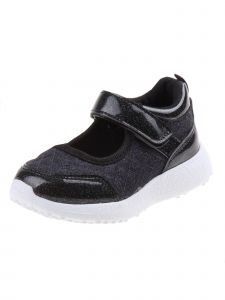 Laura Ashley Little Girls Black Quilted Hook-And-Loop Sneakers 7 Toddler-12 Kids