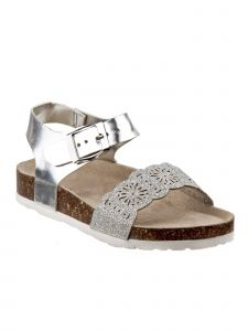 Laura Ashley Little Girls Silver Cut-Out Scalloped Cork Sandals 5-10 Toddler