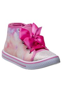 Laura Ashley Little Girls Pink Tie Dye Bow High Top Sneakers 5-10 Toddler