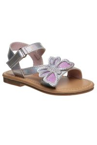 Laura Ashley Girls Holographic Silver Butterfly Strap Sandals 5-10 Toddler
