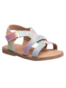 Laura Ashley Little Girls Rainbow Multi Color Glitter Strappy Sandals 5-10 Toddler