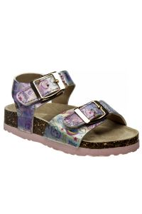 Laura Ashley Little Girls Holographic Pink Footbed Buckle Sandals 5-10 Toddler