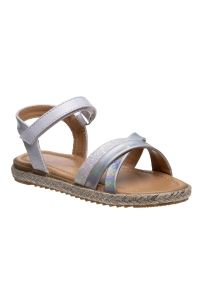 Nanette Lepore Girls White Silver Hook And Loop Strap Closure Sandals 11-3 Kids