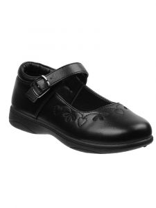 Petalia Girls Black Embroidered Buckle Mary Jane Shoes 9 Toddler-7 Kids
