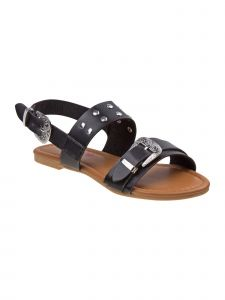 Petalia Girls Black Buckle Strap Stud Embellished Open Toe Sandals 11-4 Kids