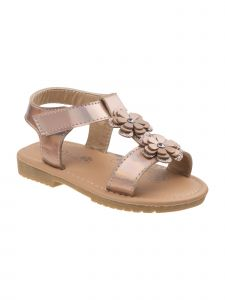 Petalia Little Girls Rose Gold Floral Appliques T-Bar Sandals 6-10 Toddler
