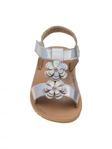 Petalia Little Girls Silver Floral Appliques T-Bar Sandals 6-10 Toddler