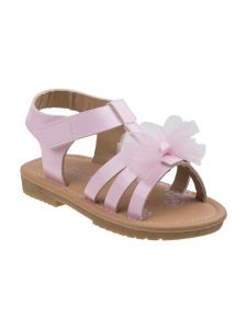 Petalia Little Girls Pink Mesh Bow Hook-And-Loop Gladiator Sandals 6-10 Toddler