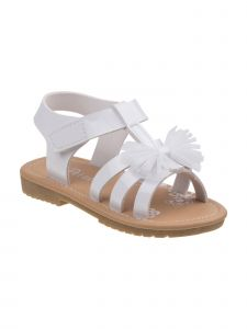 Petalia Little Girls White Mesh Bow Hook-And-Loop Gladiator Sandals 6-10 Toddler