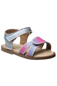 Petalia Little Girls Silver Double Hook And Loop Strap Sandals 5-10 Toddler