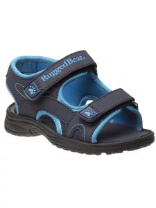 Rugged Bear Boys Navy Blue Double Hook And Loop Sandals 11-4 Kids