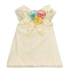 Little Girls Ivory Multi Colored Floral Accents Lace Trim Shirt 5