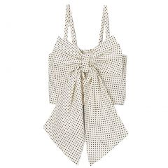Big Girls Ivory Polka Dots Oversized Bow Spaghetti Strap Shirt 7-10
