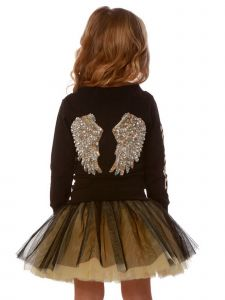 Ooh! La, La! Couture Little Girls Black Sparkle Back Wing Applique Dress 2T-5