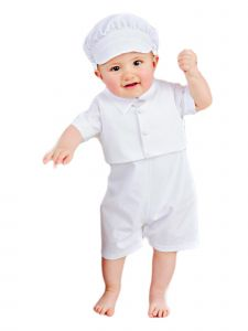 Baby Boys White Romper Vest Hat 3 Pcs Cotton Christening Outfit 3-24M
