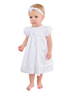 Baby Girls White Embroidered Satin Ribbon Headband Sarah Christening Dress 3-24M