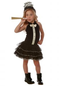 Ooh! La, La! Couture Little Girls Black Multi-Layer Tuxedo-Style Dress 2T-5