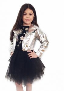 Ooh! La, La! Couture Little Girls Silver Metallic Trendy Designer Jacket 2T-6