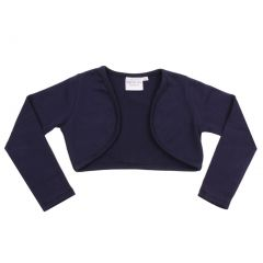 Ooh! La La! Couture Big Girls Navy Solid Color Long Sleeve Elegant Shrug 7-14