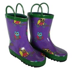 Purple Owls Girls Rain Boots 11-3