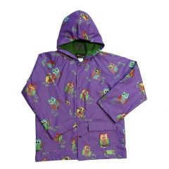 Big Girls Purple Owls Rain Coat 8-10