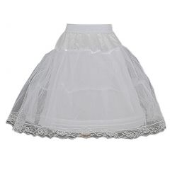 Little Girls White Wired Layered Lace Mesh Adjustable Waist Petticoat 2T