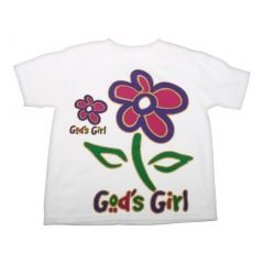 Big Girls White Gods Girl Flower Print Short Sleeve T-Shirt 6-16