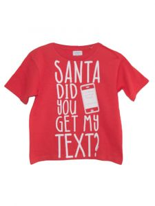 Little Kids Unisex Red Santa Did You Get My Text Christmas T Shirt 2T-6