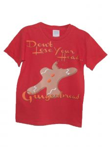 Big Kids Unisex Red Don T Lose Your Head Gingerbread Christmas T Shirt 7-14