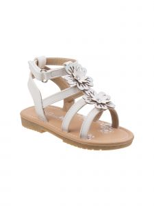 Petalia Little Girls White Flower Appliques Gladiator Sandals 6-10 Toddler