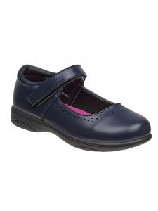 Petalia Girls Navy Pinhole Detail Mary Jane School Shoe 9 Toddler-4 Kids
