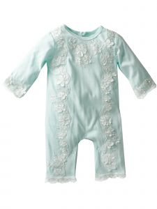 Baby Girls Blue Flower Lace Appliques Headband Footless Romper 9-24M