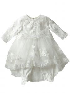 Baby Girls Off White Flower Lace Appliques Tulle Skirt Headband Romper 9-24M