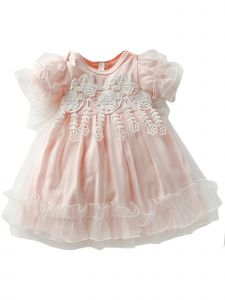 Baby Girls Pink Flower Lace Tulle Ruffle Headband Easter Dress 9-24M