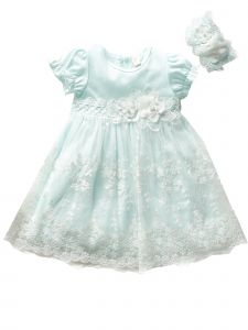 Baby Girls Blue Lace Flower Tulle Bow Waistline Easter Dress NB-24M