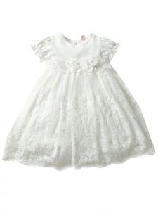 Baby Girls Off White Lace Flower Tulle Bow Waistline Easter Dress 3-24M