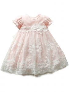 Baby Girls Pink Lace Flower Tulle Bow Waistline Easter Dress NB-24M