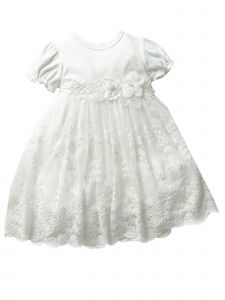 Baby Girls Off White Lace Flower Waistline Headband Easter Dress 6-12M