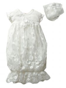 Baby Girls Off White Flower Lace Appliques Bottom Ruffle Sleep Sack 3-9M